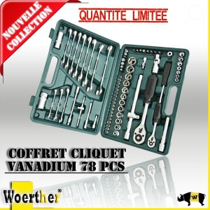 Coffret cliquet VANADIUM 78 PCS