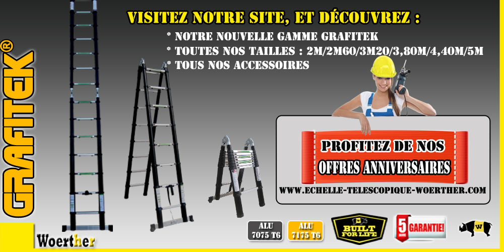 echelle telescopique woerther triple fonctions 5m garantie 5 ans alu7075t6 ebay. Black Bedroom Furniture Sets. Home Design Ideas