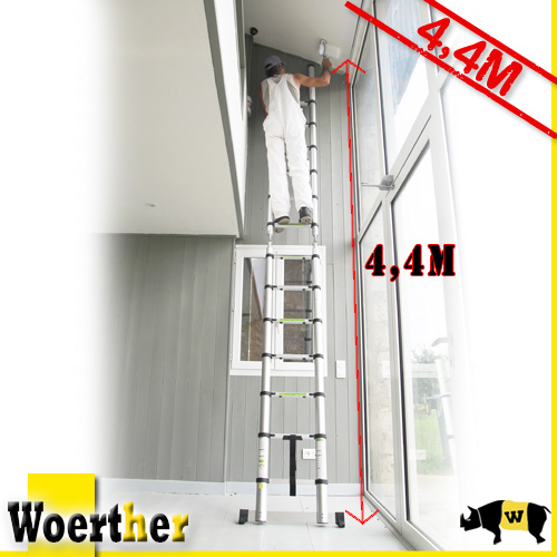 telescopic stepladder woerther m 2 in 1 superior. Black Bedroom Furniture Sets. Home Design Ideas