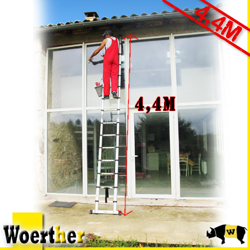 telescopic stepladder woerther m 2 in 1 superior quality ebay. Black Bedroom Furniture Sets. Home Design Ideas