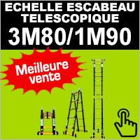 Echelle escabeau en aluminium télescopique 3 mètres 80 / 1 mètres 90