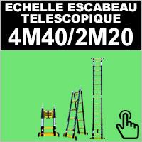 Echelle escabeau en aluminium télescopique 4 mètres 40 / 2 mètres 20