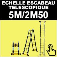 Echelle escabeau en aluminium télescopique 5 mètres / 2 mètres 50
