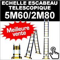 Echelle escabeau en aluminium télescopique 5 mètres 60 / 2 mètres 80